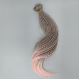 Różowe Ombre - Super Podwinięte 15cm - Włosy Do Lalek