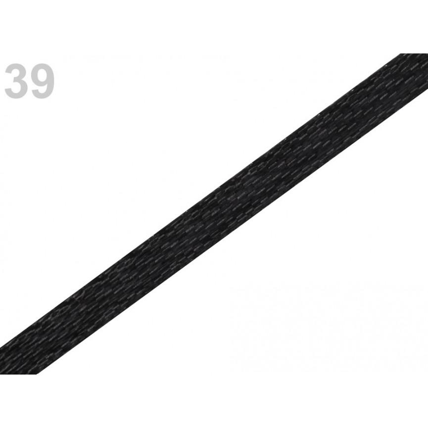 Wstążka satynowa 3mm - CZARNA - 30mb