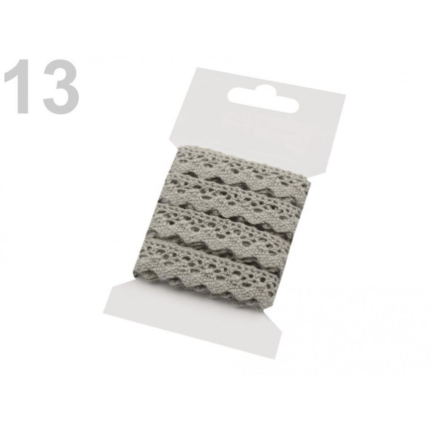 Koronka bawełniana JASNO SZARA 15mm – karta 3mb