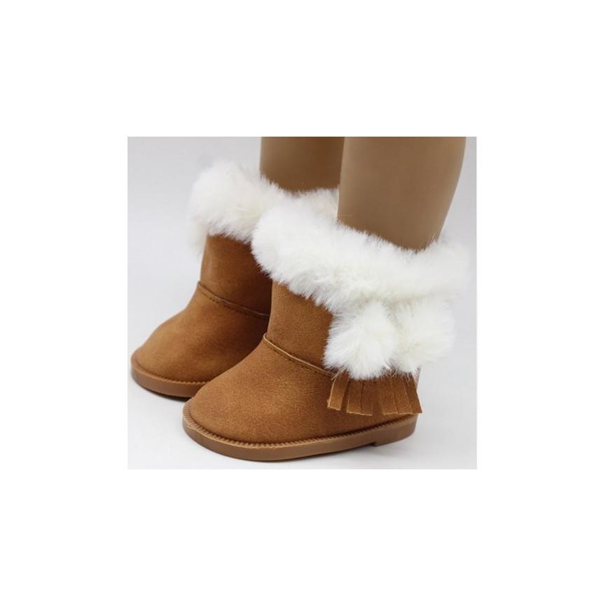 BRĄZOWE - Śniegowce 7cm - Buty Dla Lalek