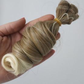 BRĄZ + BLOND Ombre - Kręcone 15cm - Włosy do Lalek