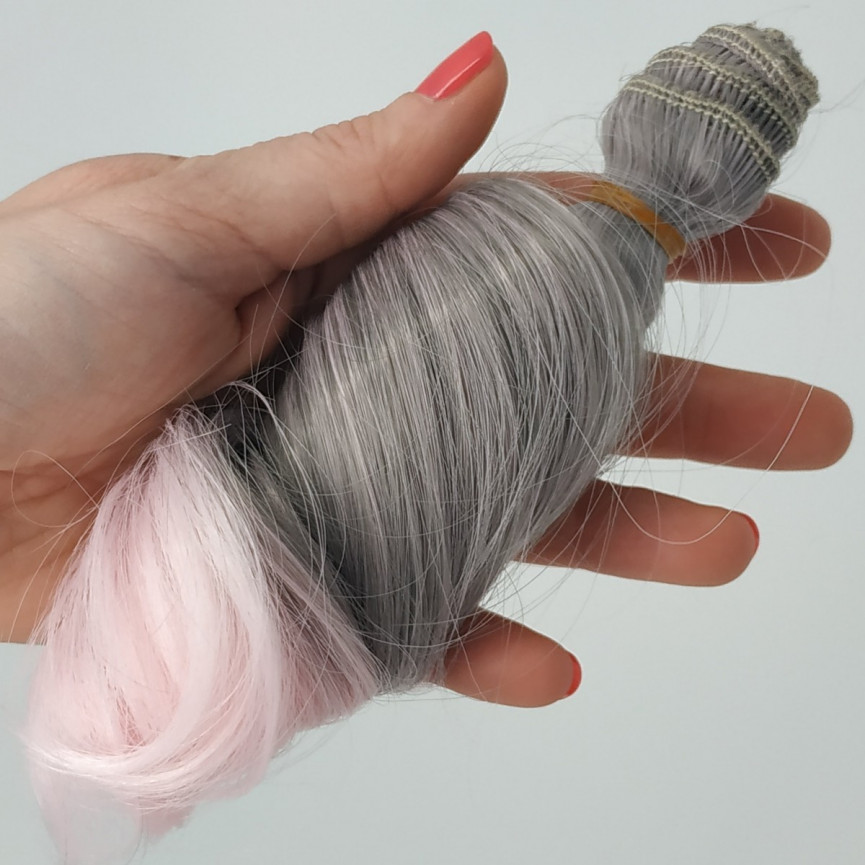 SZARO-RÓŻOWY (5) Ombre - Kręcone 15cm - Włosy do Lalek