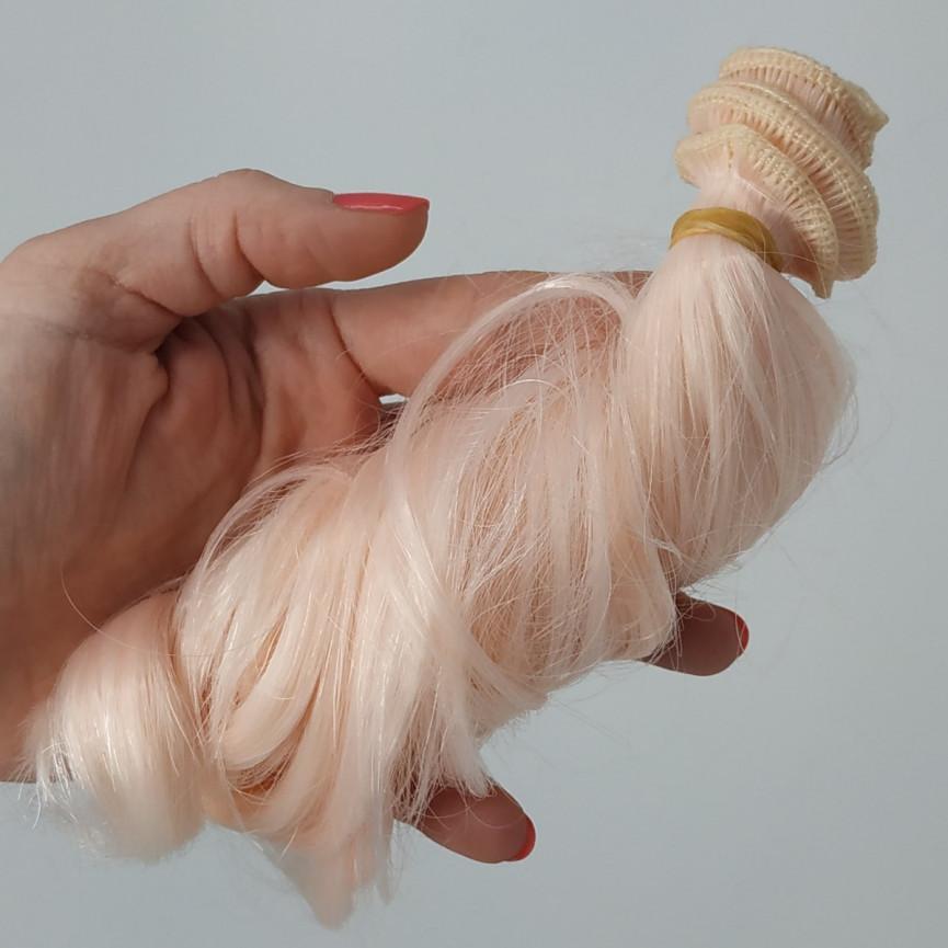 RÓŻOWY JASNY - Kręcone 15cm - Włosy do Lalek