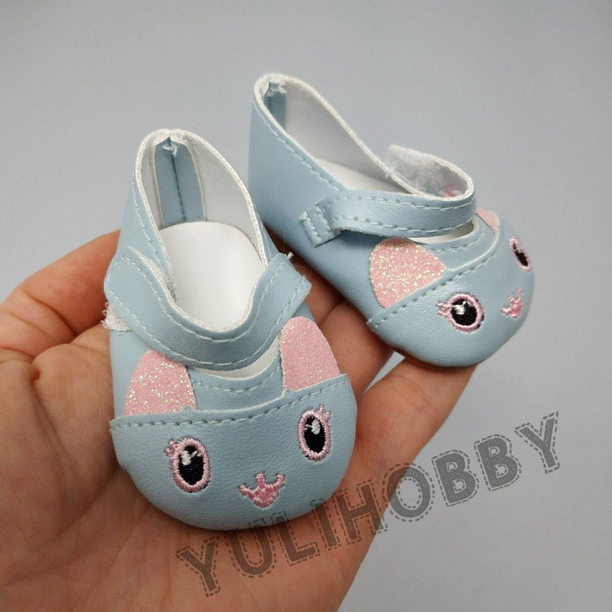 NIEBIESKIE - Pantofle kociaki 7cm - Buty Dla Lalek