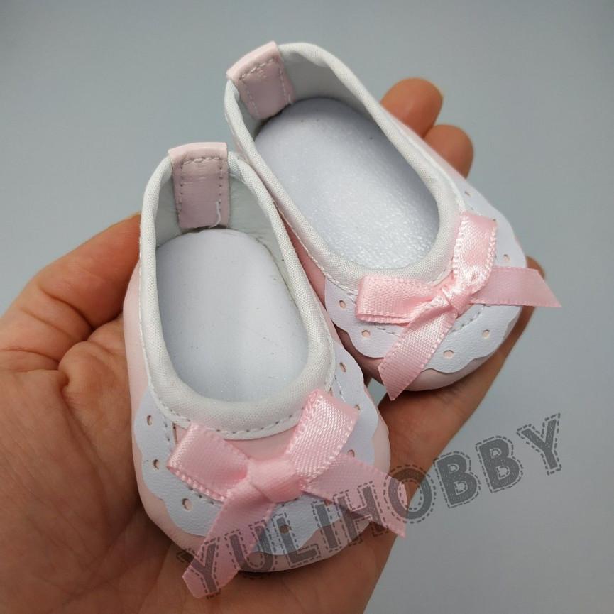 RÓŻOWE - Pantofle z kokardką 7cm - Buty Dla Lalek