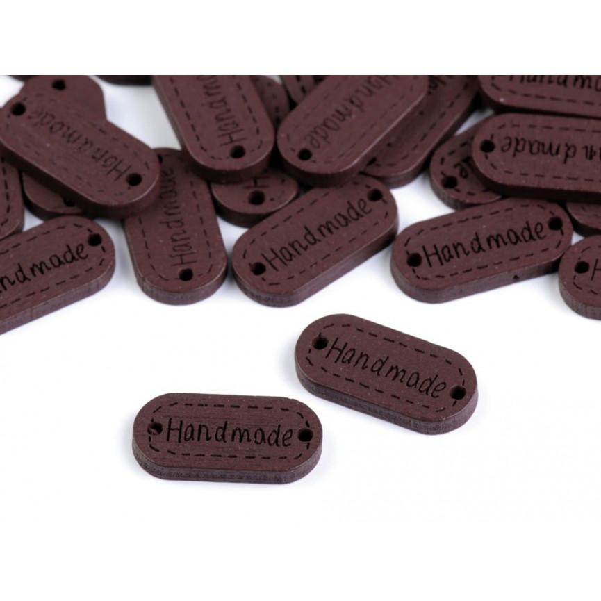 HANDMADE Logo drewniane, metki CIEMNY BRĄZ 11x23mm - 10szt