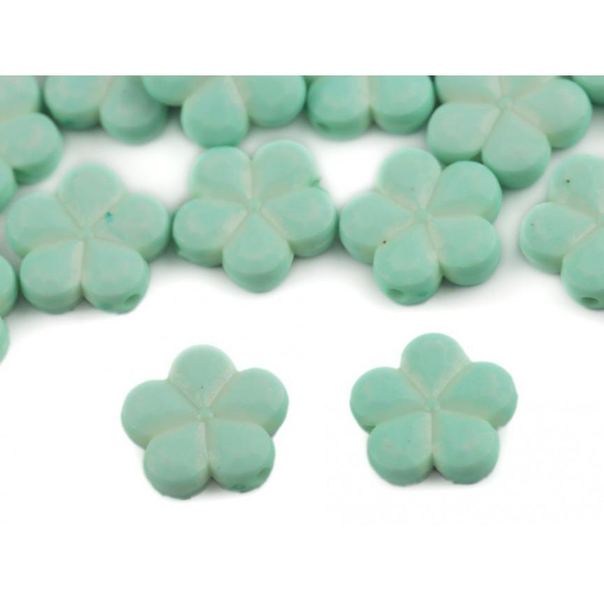 Miętowy - kwiaty koraliki do przewlekania– 14mm 10szt.