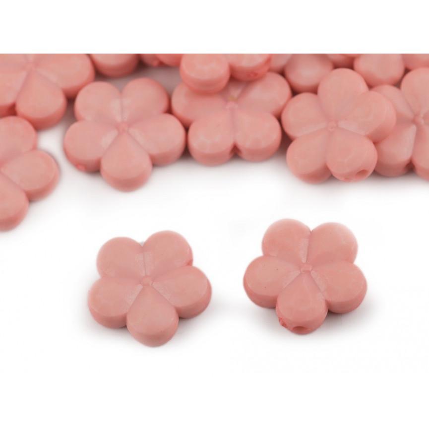 Pudrowe - kwiaty koraliki do przewlekania– 14mm 10szt.