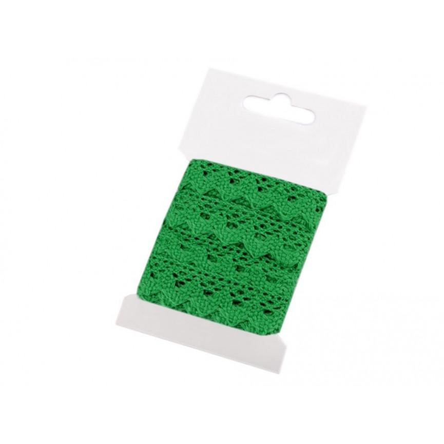Koronka bawełniana ZIELONA 15mm – karta 3mb