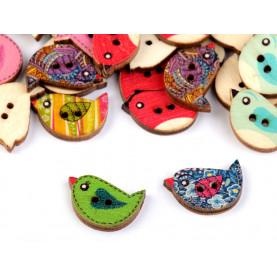 Drewniane guziki kolorowe ptaszki 15x23 mm - 5szt