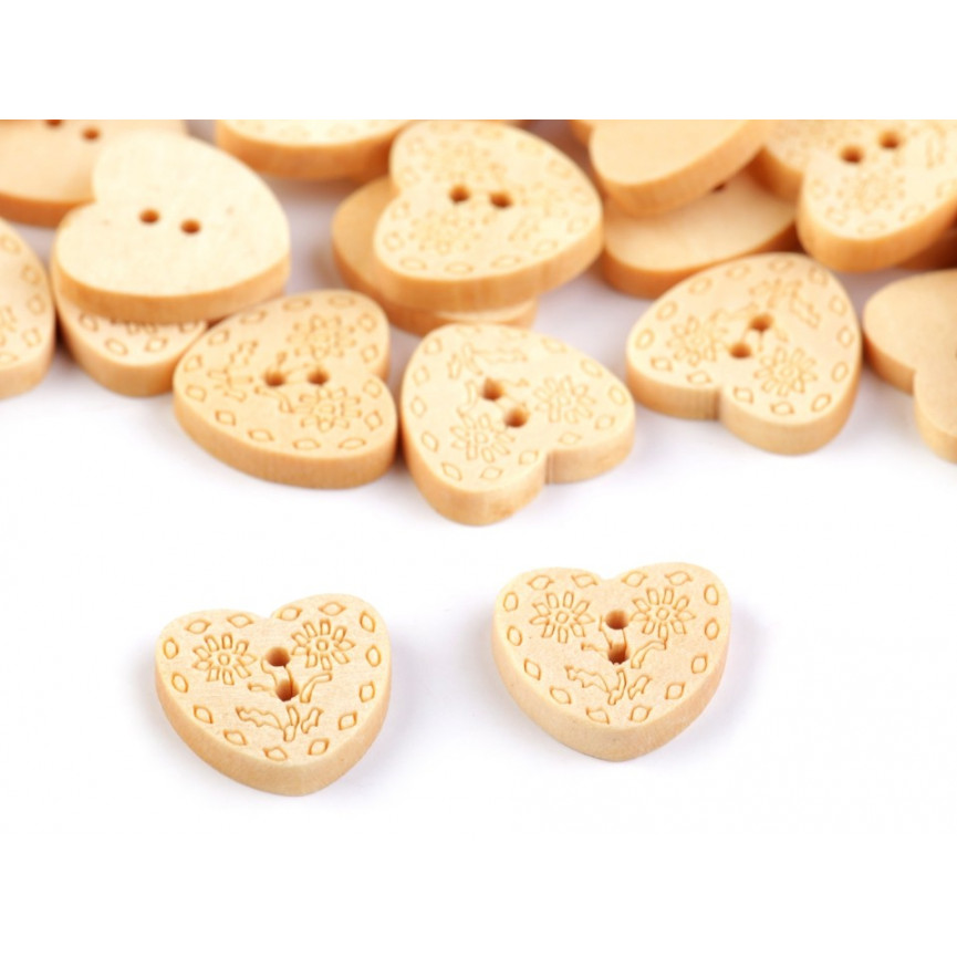Drewniane guziki serca z wzorem 14,8 mm - 10szt