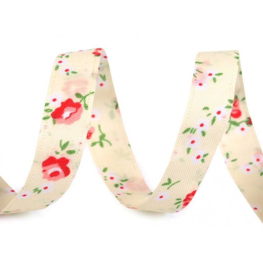 Wstążka dwustronna w drobne kwiaty, 13mm - ECRU z czerwonym