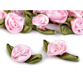 RÓŻOWE Kwiatki satynowe z listkami - 10 szt.