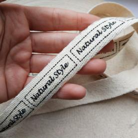 Wstążka NATURAL STYLE , z napisem, 20mm - 3metry