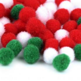Pompony 10mm mix świąteczne kolory