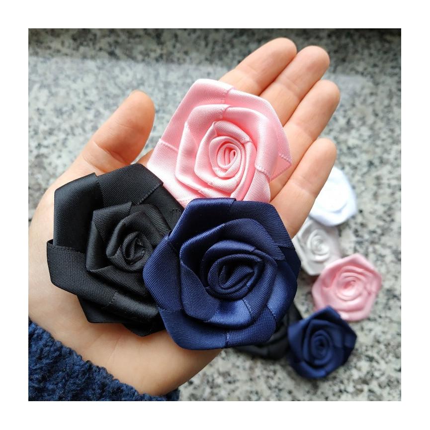 Duże różyczki (5cm) satynowe -MIX KOLORÓW- 10szt