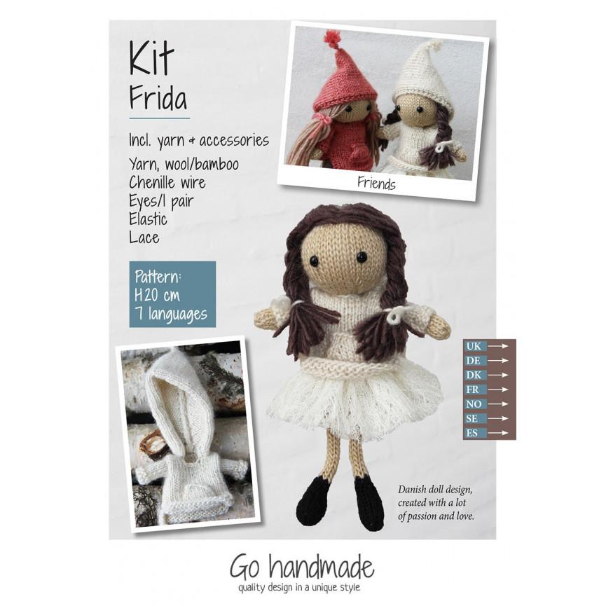 Urocza lalka z włóczki- Frida ZESTAW (włosy ciemnobrązowe, beż, koronka)