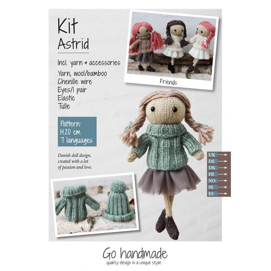Urocza lalka z włóczki- Astrid ZESTAW (włosy brązowe,j zieleń i tiul)