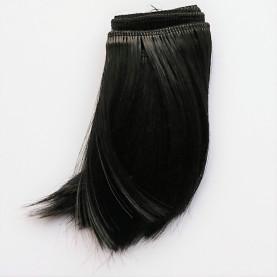 CZARNY (18) - Podwinięte 10cm - Włosy do Lalek
