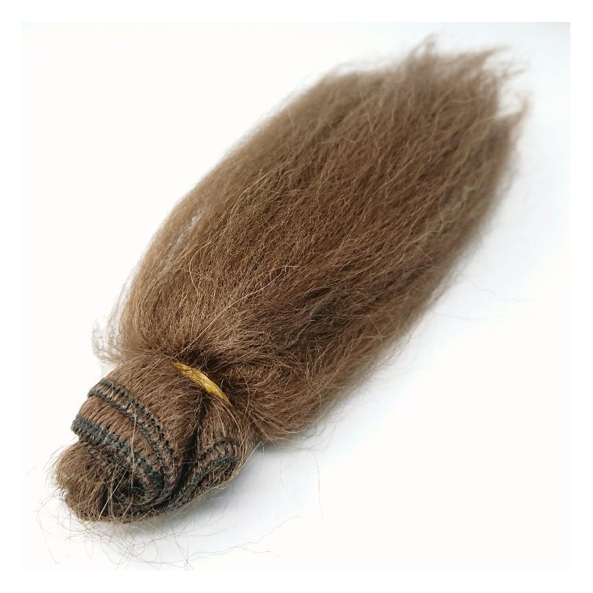 Włosy moherowe dla lalek 5cm - BRĄZOWE