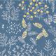 Bawełna wzorzysta - zestaw 8 szt. szaro-granatowy z roślinami