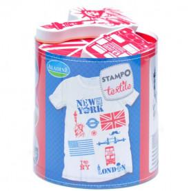 STEMPLE DO TKANIN - NY London / malowanie na tkaninie