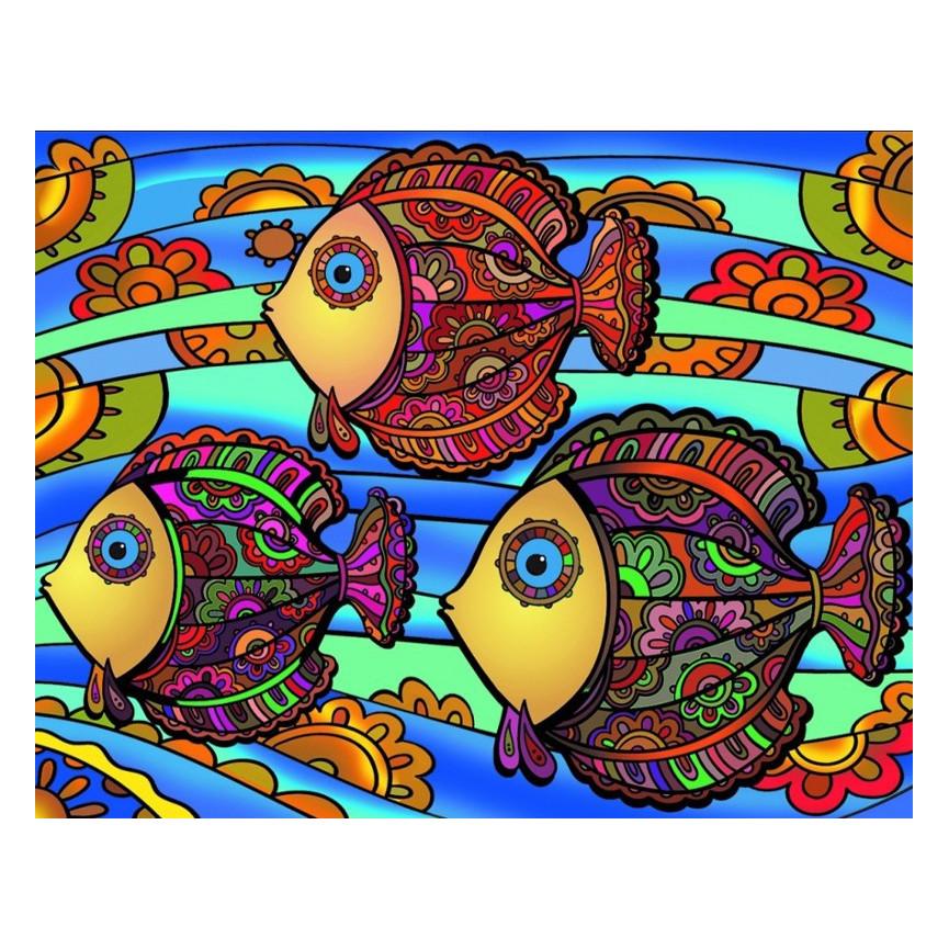 Malowanki Duże COLORVELVET Rybki