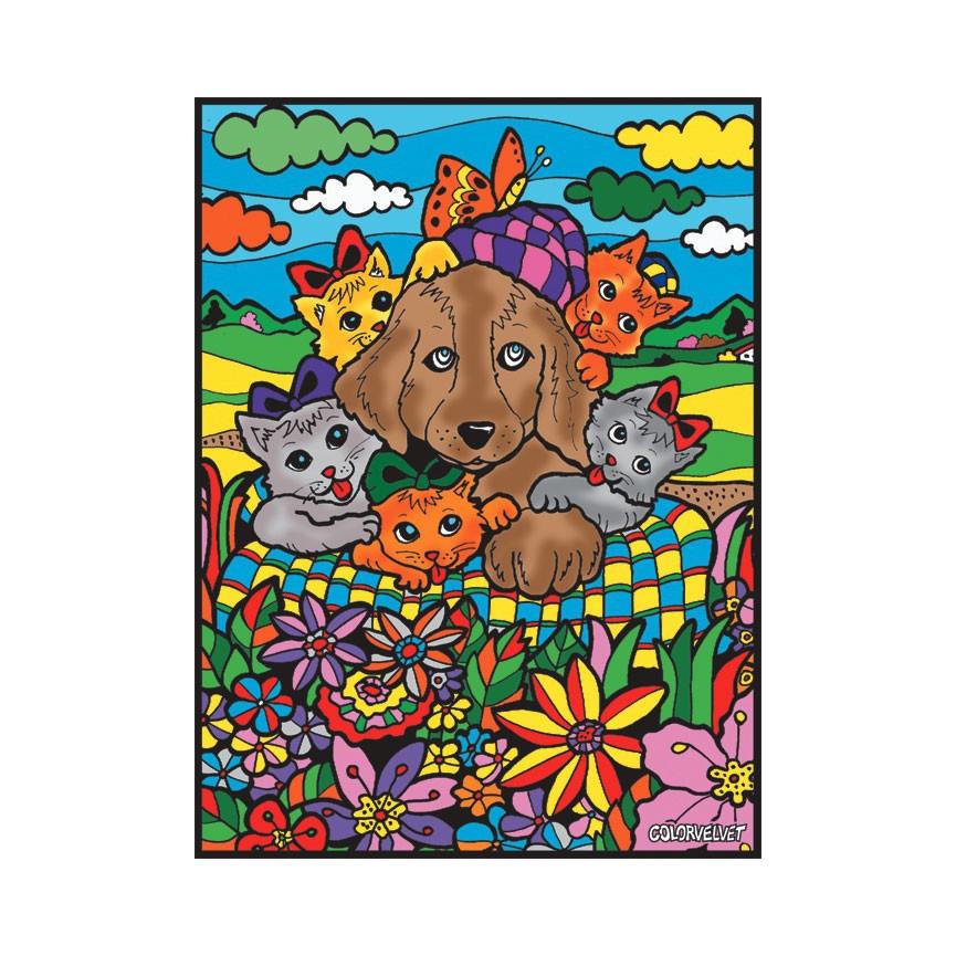 Malowanki Duże COLORVELVET Pies Kotki