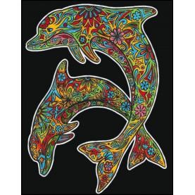 Malowanka COLORVELVET 47x35 Delfiny