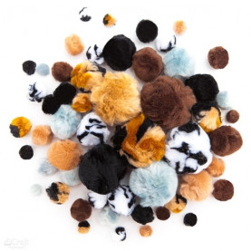 POMPONY AKRYLOWE MIX ANIMAL PRINTS, 56 SZT