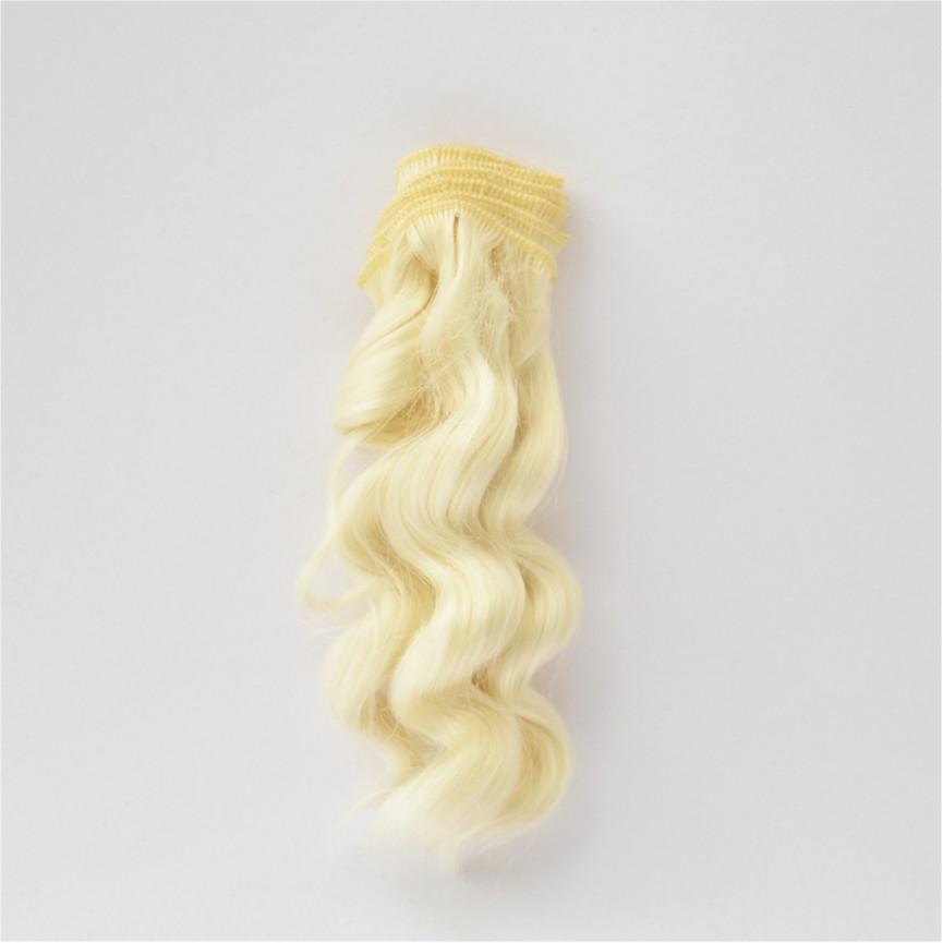 LODOWY BLOND Zwijane lekko 15cm Włosy do Lalek
