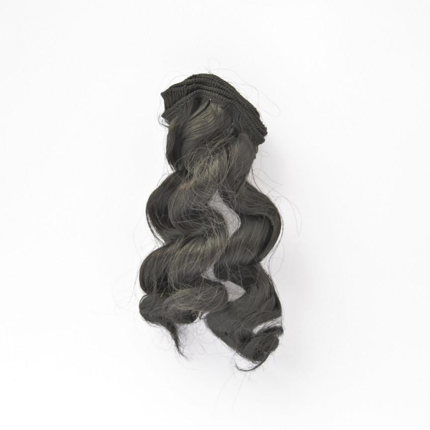 CZARNE Zwijane lekko 15cm Włosy do Lalek