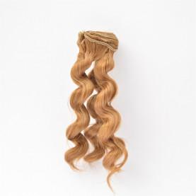 BRĄZOWE Zwijane lekko 15cm Włosy do Lalek