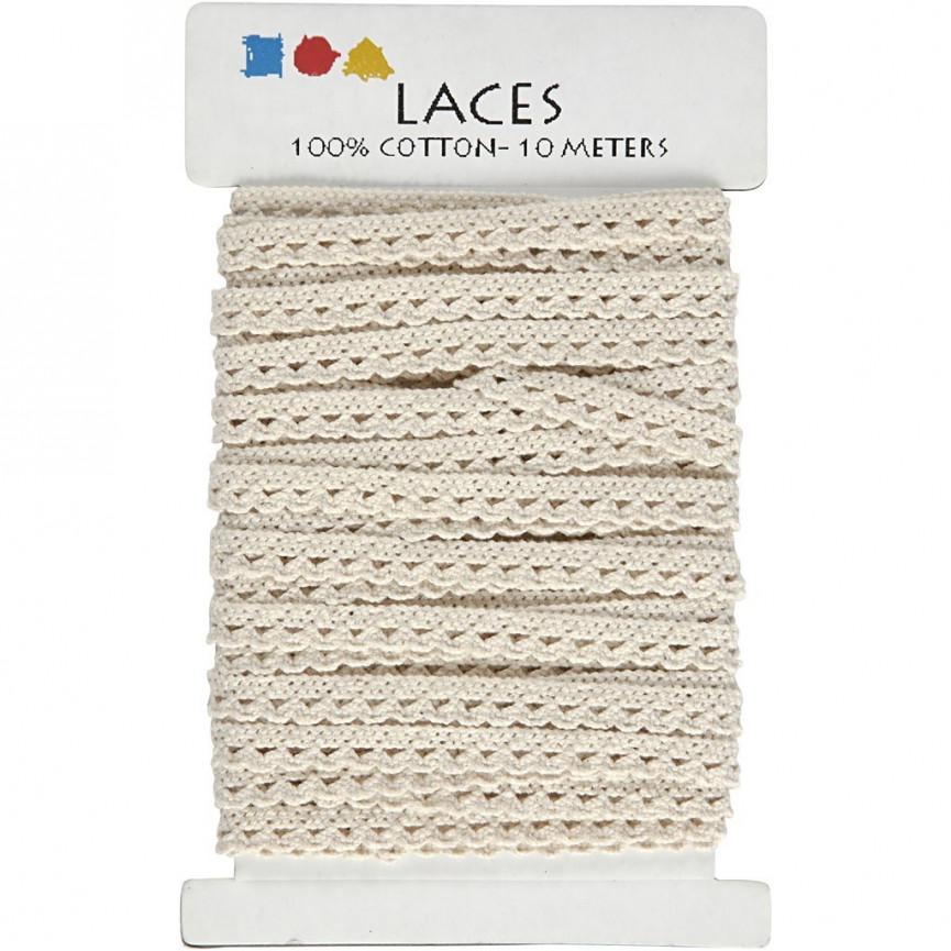 ECRU Taśma koronkowa 100% bawełna [10mm] - 10mb