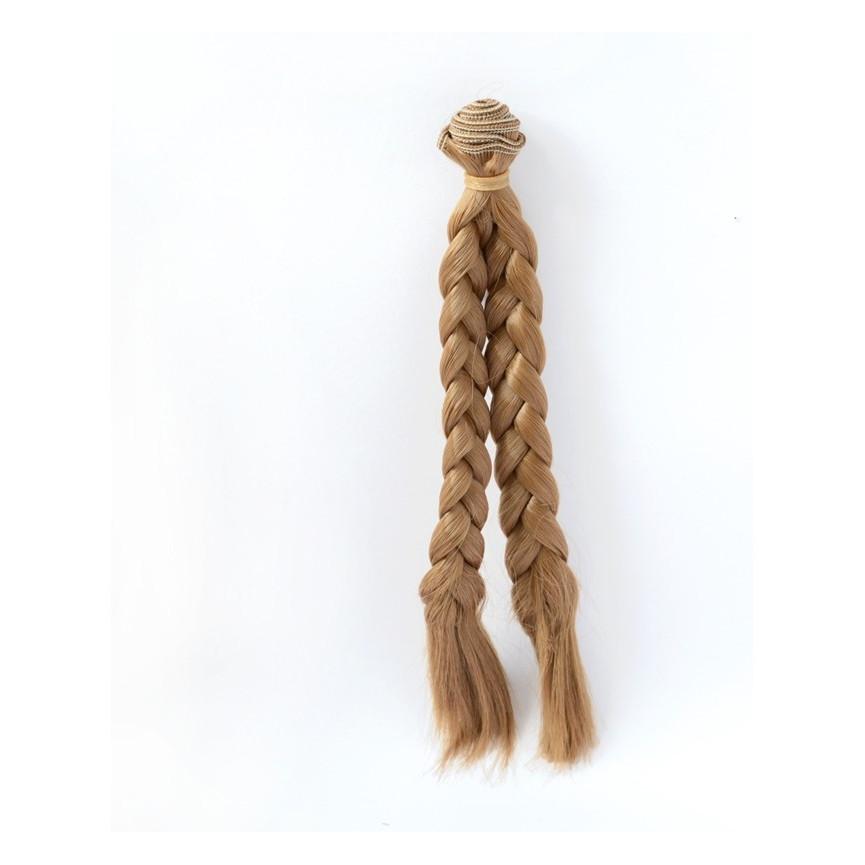 BRĄZOWE Warkocze 25cm Włosy do Lalek
