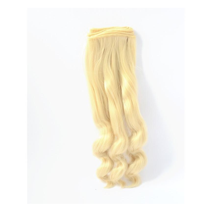 LODOWY BLOND Bardzo długie falowane 25cm Włosy do Lalek