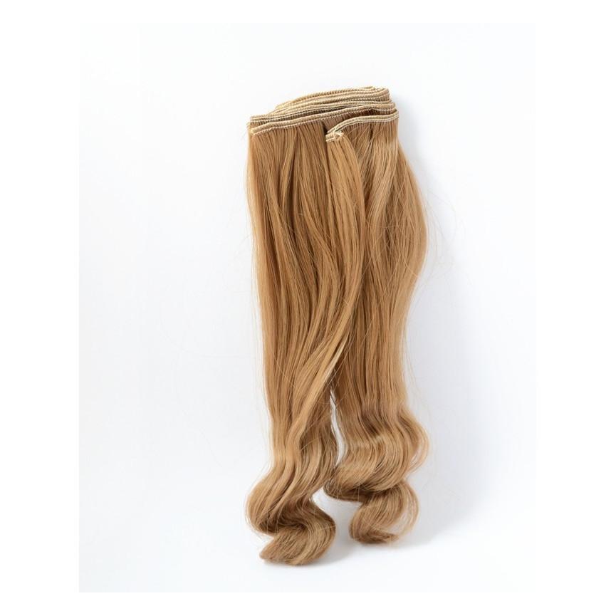 BRĄZOWE Bardzo długie falowane 25cm Włosy do Lalek
