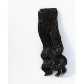 CZARNE Bardzo długie falowane 25cm Włosy do Lalek