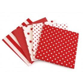 Bawełna wzorzysta - zestaw czerwony